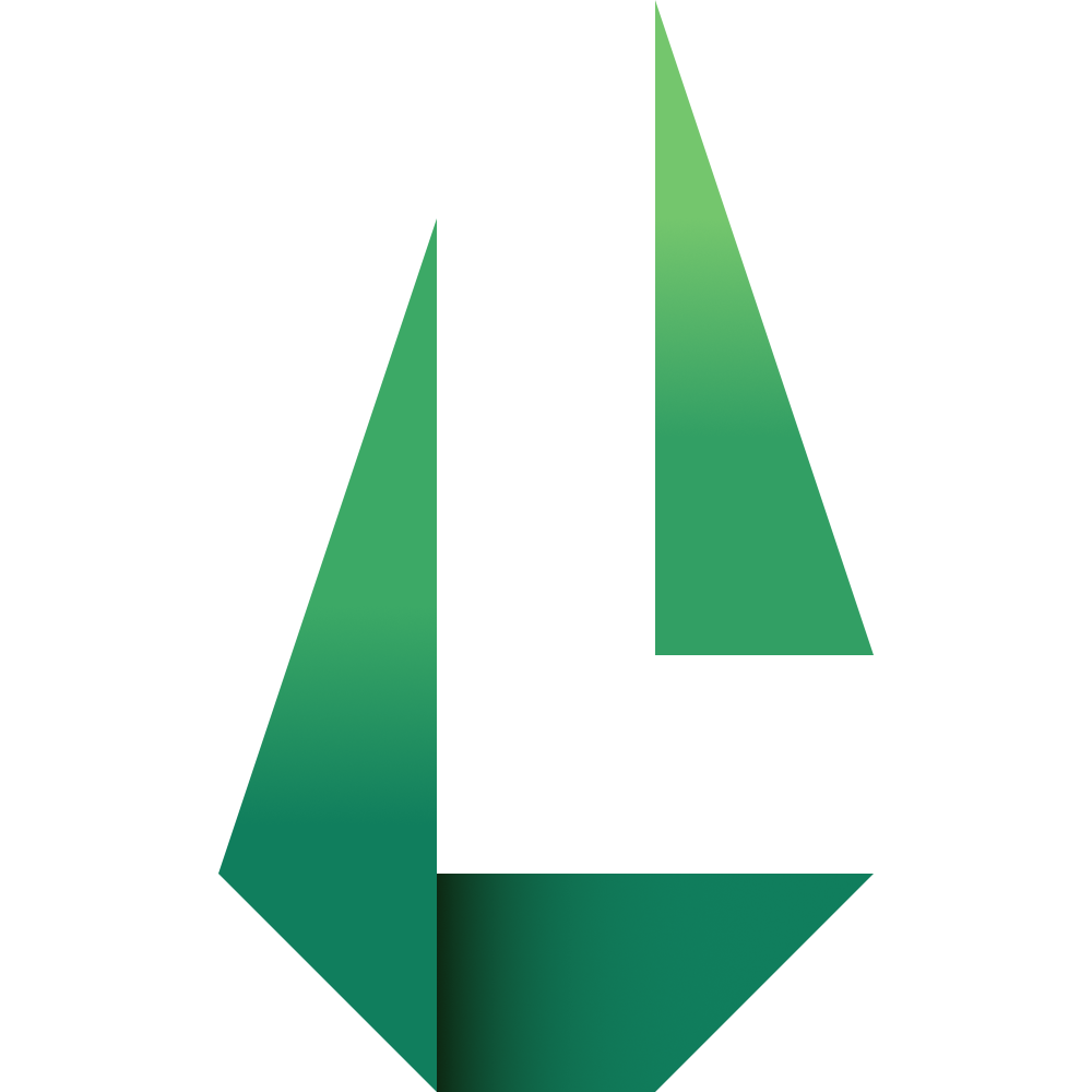 Geometric Loam logo featuring a negative space L